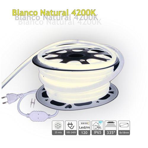 Neon LED flexible 220V doble cara 7W/m 4200K IP65 25m