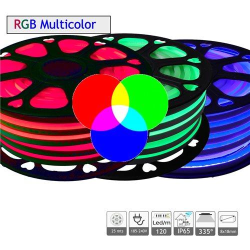 Neon LED flexible 220V doble cara RGB 7W/m azul IP65 25m