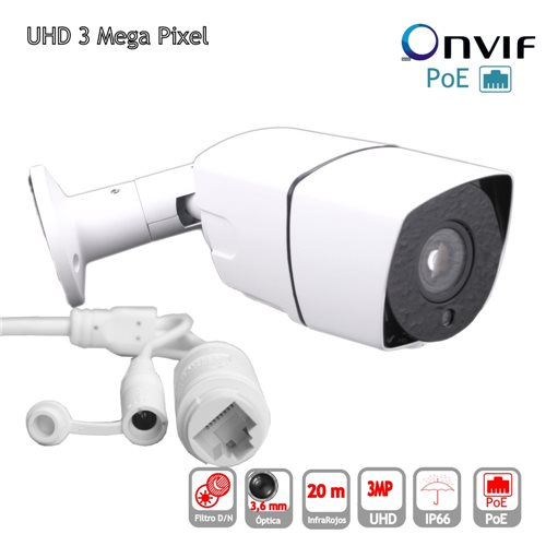 Camara IP POE ONVIF HD 3mp Bullet optica 3.6mm exterior IP65