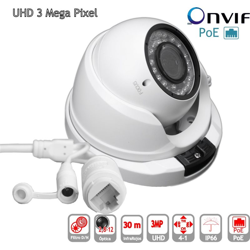 Camara IP POE ONVIF HD Domo optica 2,8-12mm exterior IP65