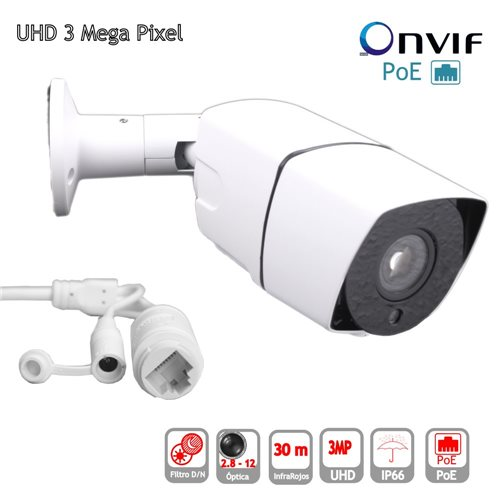 Camara IP POE ONVIF HD 3mp Bullet optica 2,8-12mm exterior IP65