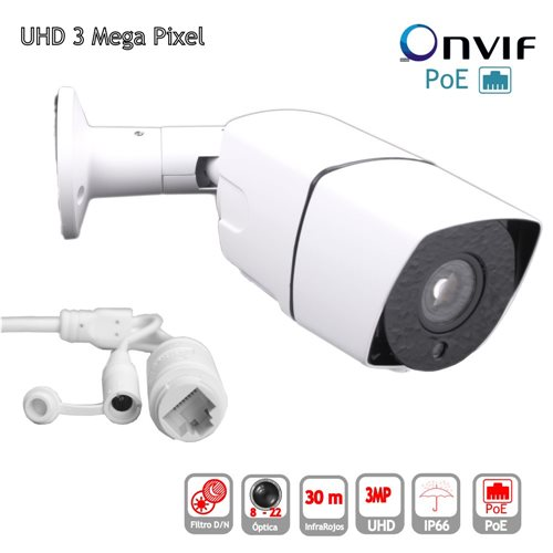 Camara IP POE ONVIF HD 3mp Bullet optica9-22mm exterior IP65