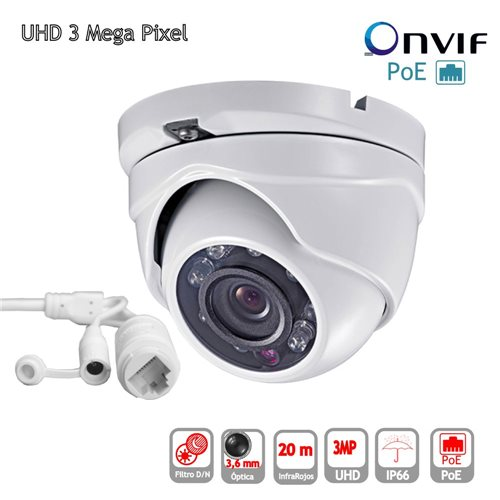 Camara IP POE ONVIF HD 3mp Domo optica 3.6mm exterior IP65