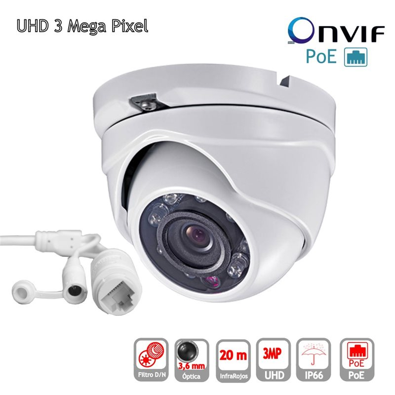 Camara IP POE ONVIF HD Domo optica 3.6mm exterior IP65