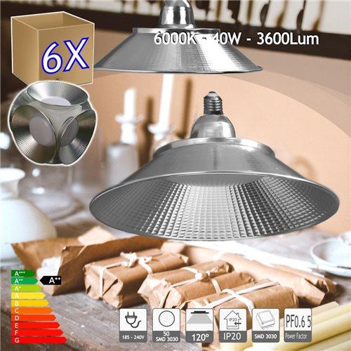 6X Bombilla E27 campana LED 40W 6000K para taller mesa almacén