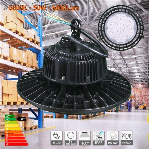 Campana LED UFO 50W blanco 6000K PF0,95 nave hangar taller