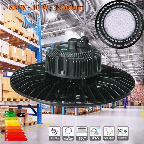 Campana LED UFO 100W blanco 6000K PF0,95 nave hangar taller