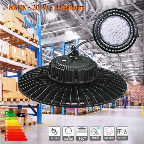 Campana LED UFO 200W blanco 6000K PF0,95 nave hangar taller