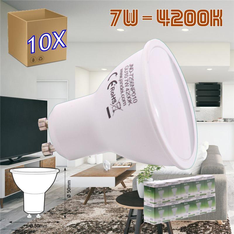 pack 10 Bombilla led GU10 7W 6000K frio 50 mm