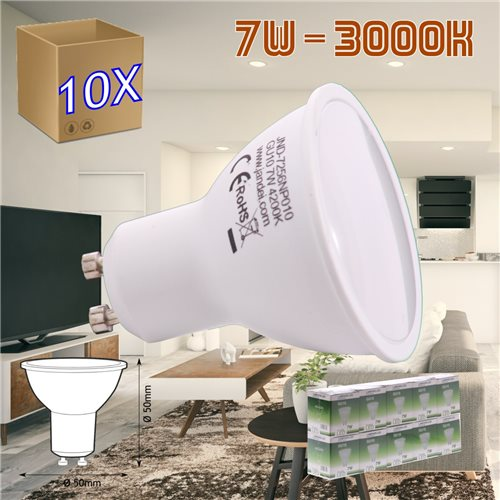 pack 10 Bombilla led GU10 7W 3000K frio 50 mm