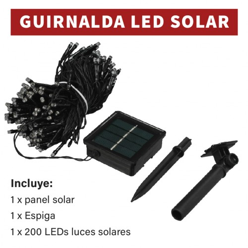 Guirnalda solar led decorativa 3000K 200 leds 20m 1200mA
