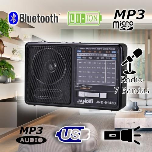 Radio pequeña, 7 bandas con Bluetooth batería recargable