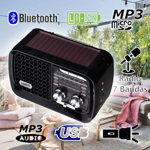 Radio con panel solar 7 bandas, Bluetooth batería ion litio recargable