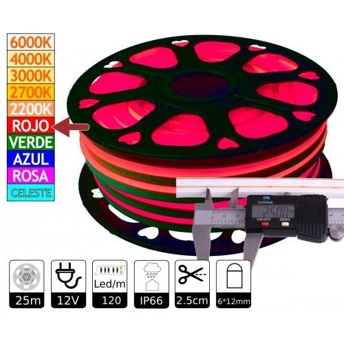 Neon led flexible simple 12V ROJO 6mm 112 led metro 8W  25m