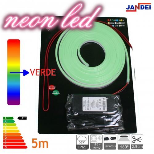 Kit Neon led flexible 12V VERDE con transformador