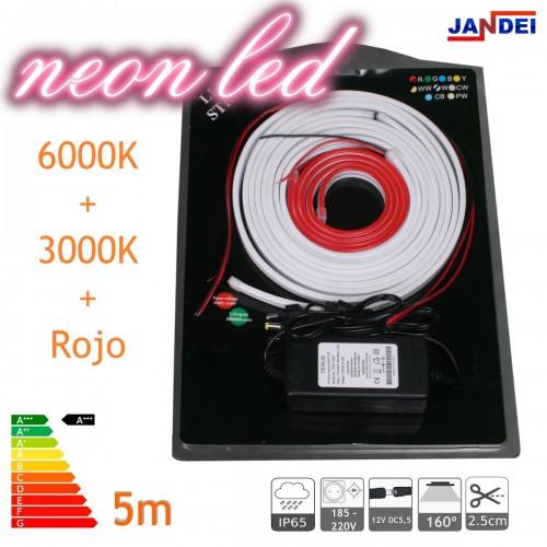 Kit Neon led flexible 5metros 12V 6*12mm 6000K + 3000K + ROJO transformador 1m cable