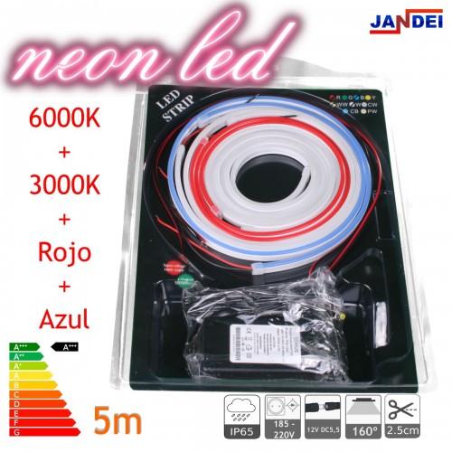 Kit Neon led flexible 5metros 12V 6*12mm 6000K + 3000K + ROJO + AZUL transformador 1m cable