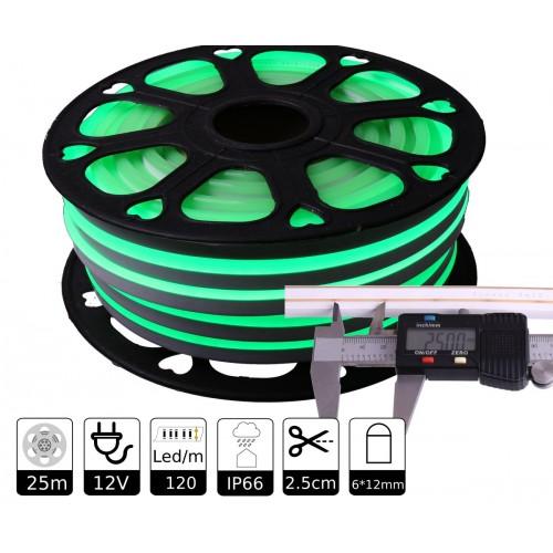 Neon led flexible simple 12V VERDE 6mm 112 led metro 8W  25m