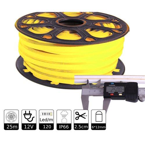 Neon led flexible simple 12V AMARILLO LIMON 6mm 112 led metro 8W  25m