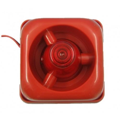 Sirena de incendio interior roja de12VDC a 28VDC