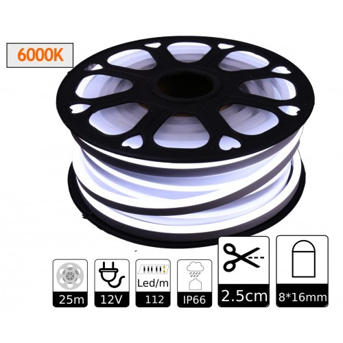 Neon led flexible simple 12V 6000K 8mm corte 2,5 cm 112 led metro 8W 25m