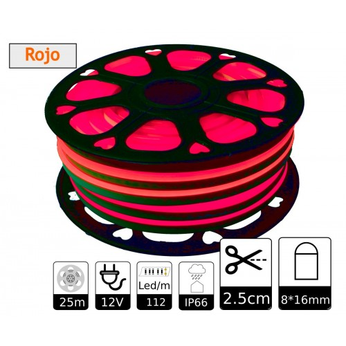Neon led flexible simple 12V Rojo 8mm corte 2,5 cm 112 led metro 8W 25m