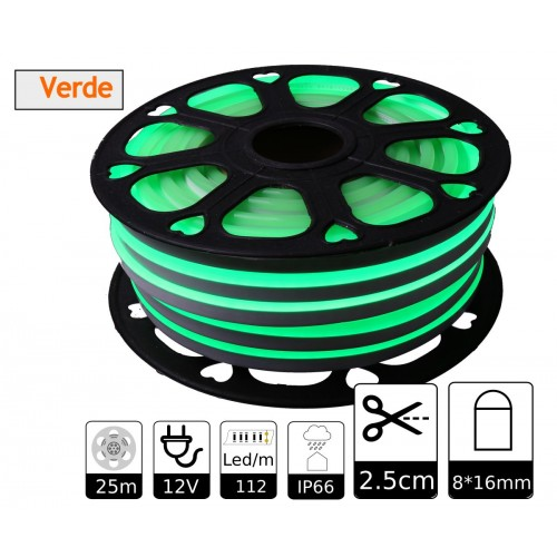 Neon led flexible simple 12V Verde 8mm corte 2,5 cm 112 led metro 8W 25m