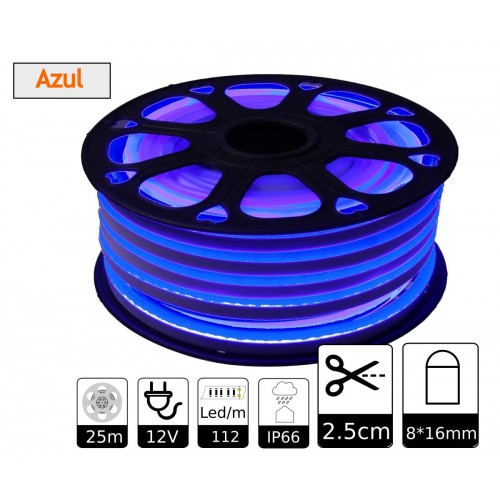 Neon led flexible simple 12V Azul 8mm corte 2,5 cm 112 led metro 8W 25m