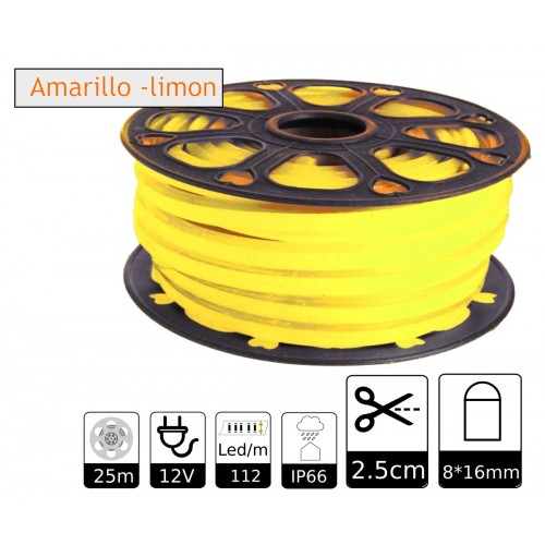 Neon led flexible simple 12V Amarillo Limón 8mm corte 2,5 cm 112 led metro 8W 25m