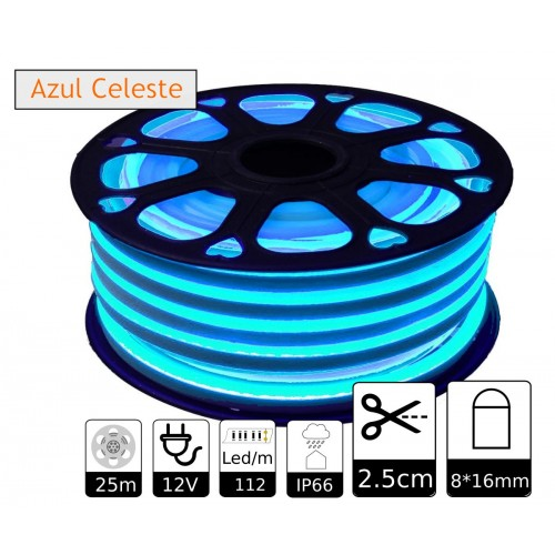 Neon led flexible simple 12V Azul Celeste 8mm corte 2,5 cm 112 led metro 8W 25m