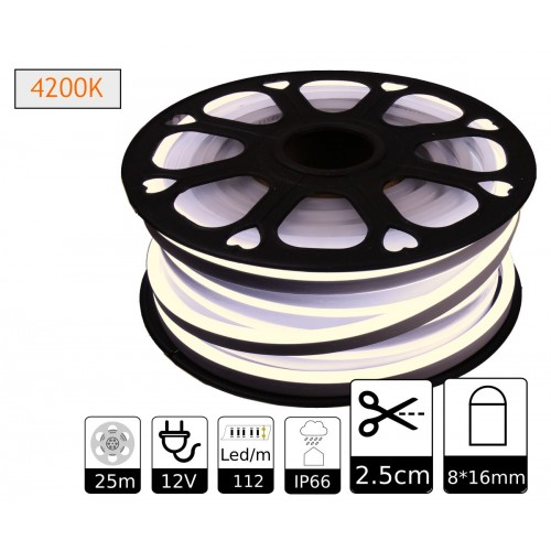 Neon led flexible simple 12V 4200K 8mm corte 2,5 cm 112 led metro 8W 25m