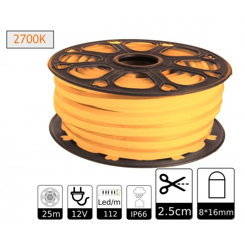 Neon led flexible simple 12V 2700K 8mm corte 2,5 cm 112 led metro 8W 25m