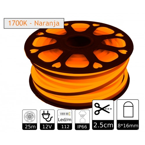 Neon led flexible simple 12V 1700K 8mm corte 2,5 cm 112 led metro 8W 25m