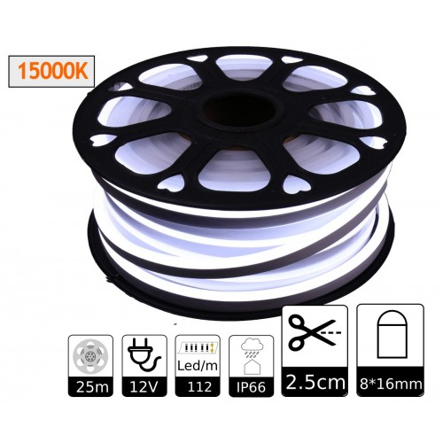 Neon led flexible simple 12V 15000K 8mm corte 2,5 cm 112 led metro 8W 25m