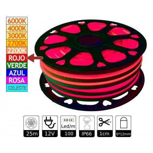 Neon led flexible simple 12V Rojo 6mm corte 1 cm 100 led metro 12W 25m