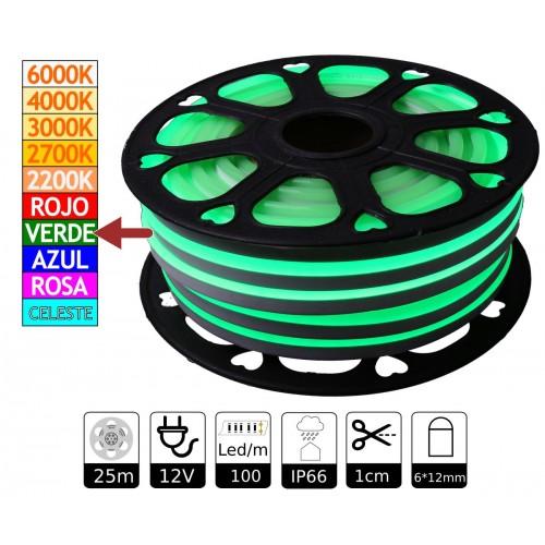 Neon led flexible simple 12V Verde 6mm corte 1 cm 100 led metro 12W 25m