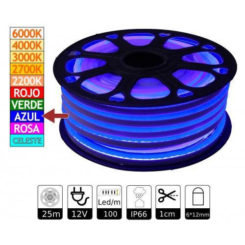 Neon led flexible simple 12V Azul 6mm corte 1 cm 100 led metro 12W 25m