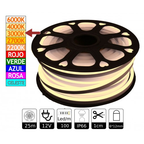 Neon led flexible simple 12V 3000K 6mm corte 1 cm 100 led metro 12W 25m
