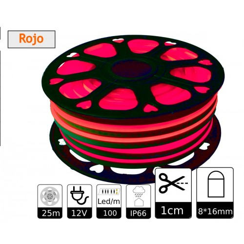 Neon led flexible simple 12V Rojo 8mm corte 1 cm 100 led metro 12W 25m