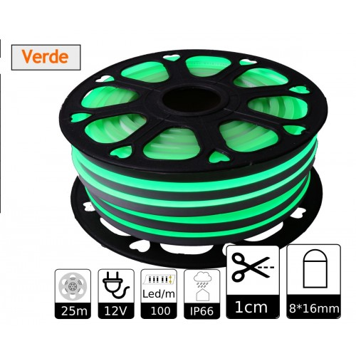 Neon led flexible simple 12V Verde 8mm corte 1 cm 100 led metro 12W 25m