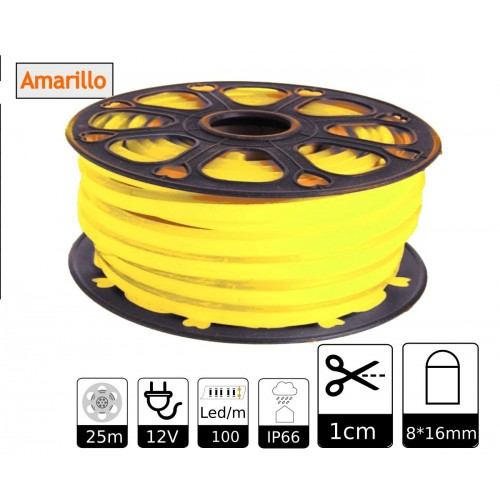 Neon led flexible simple 12V Amarillo Limón 8mm corte 1 cm 100 led metro 12W 25m