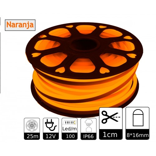 Neon led flexible simple 12V Naranja 8mm corte 1 cm 100 led metro 12W 25m