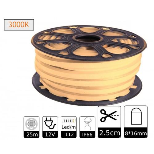 Neon led flexible simple 12V 3000K 8mm corte 2,5 cm 112 led metro 8W 25m (Defectuoso)