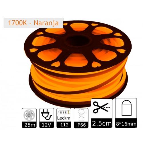 Neon led flexible simple 12V 1700K 8mm corte 2,5 cm 112 led metro 8W 25m (Defectuoso)