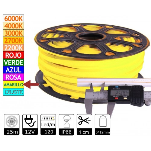 Neon led flexible simple 12V Amarillo Limón 6mm corte 1 cm 100 led metro 12W 25m