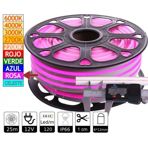 Neon led flexible simple 12V Rosa 6mm corte 1 cm 100 led metro 12W 25m