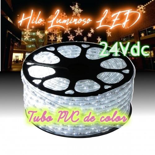 Hilo luminoso LED 6000K PVC transparente exterior corte 16cm 24Vdc 20m