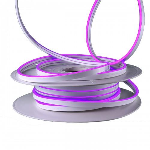 Neon led flexible simple 12V Púrpura 8mm corte 2,5 cm 112 led metro 8W 25m
