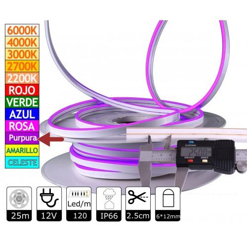 Neon led flexible simple 12V PÚRPURA 6mm 112 led metro 8W  25m