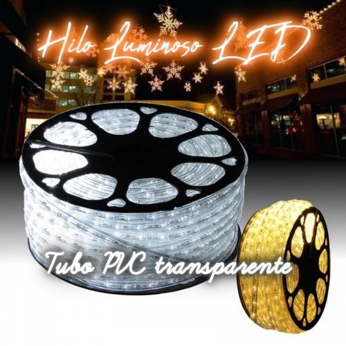 Hilo luminoso LED 3000K PVC transparente exterior corte 16cm 24Vdc 20m